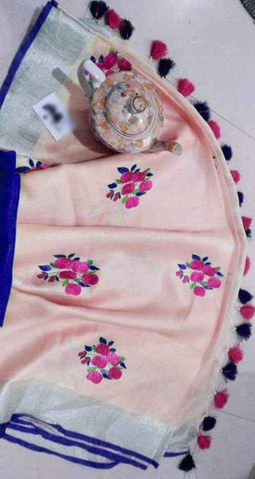 Embroidery Linen Saree 1