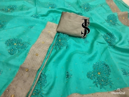 Lucky Green Raw Silk With Stone work Sarees