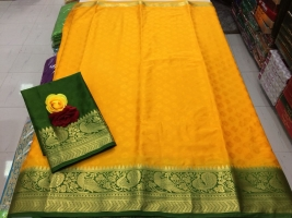 Yellow Colour Benny Crepe Sarees