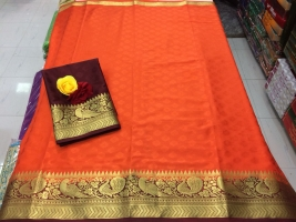 Orange Colour Benny Crepe Sarees