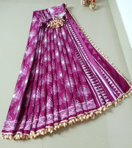 Mul mul Cotton with pom pom lace saree
